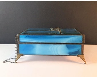 Blue glass box Etsy