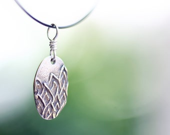 silver pendant, precious metal clay, silver flame