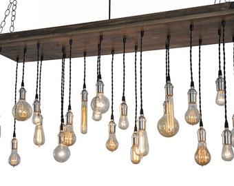 Urban Chandelier With Edison Bulb Pendants - Rustic Ceiling Light, Urban Lighting, Urban Hanging Light