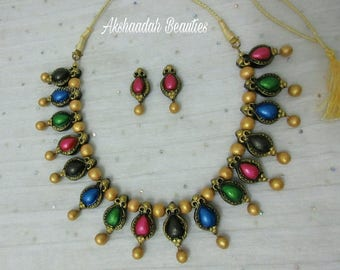 Multicolored Terracotta Necklace Set