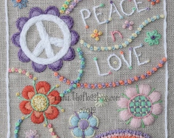 Peace n Love Crewel Embroidery Pattern