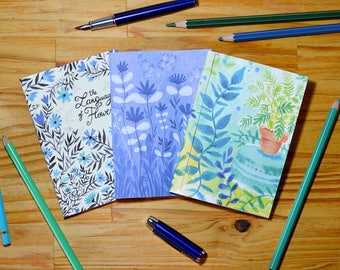 3 small illustrated notebooks - Plants and Flowers