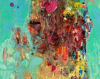 """Turquoise and Caicos Fine Art Print (Giclee) on Canvas by Tracey Chikos 14"""" x 21"""""""