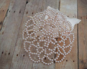 Young Lady Beaded Kippah - Light Beige Beaded Kippah - Women Head Covering.