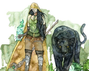 """Watercolor Druid Print - Painting titled, """"The Druid"""", Fantasy Art, Fantasy Creatures, Panther, Druid, Dungeons and Dragons, Black Panther"""