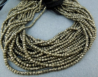 Tiny Pyrite Rondelle Beads - 1 STRAND Tiny Pyrite 3-4mm Beads (GRS-01)