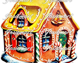 Vintage Digital Download Gingerbread House Christmas Vintage Image Collage Large JPG and PNG