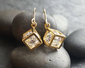 Crystal in a cube gold earrings gold and zirconia crystal earrings. Crystal in a cube gold filled earrings