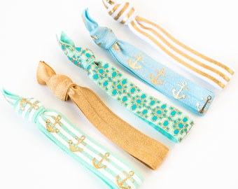 Yacht Party Hair Tie Set | Creaseless Elastic Hair Ties, Nautical Gold Hair Tie Set, Anchor Baby Blue, Mint, Gold Cruise Bridesmaid Gift