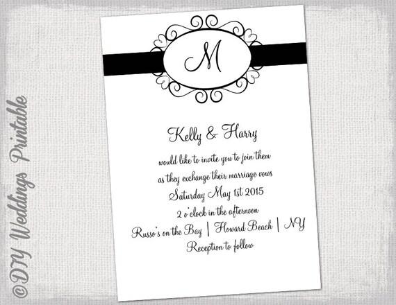 Wedding invitation template black and white hearts stopboris Choice Image