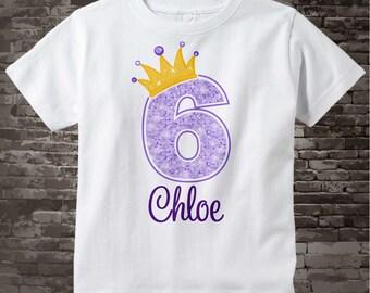 6th Birthday Shirt, Purple 6th Birthday Outfit top, Personalized Girls Birthday Shirt - sixth birthday girl - birthday girl gift - 08312016b