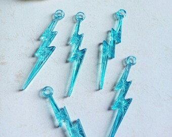 Charms eclairs turquoise transparent acrylic (x 5)