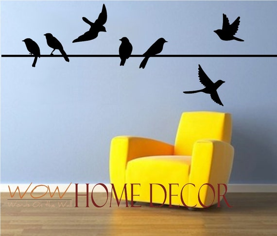 Vinyl Wall Art Decal Bird On A Wire Set. Bird Silhouette.