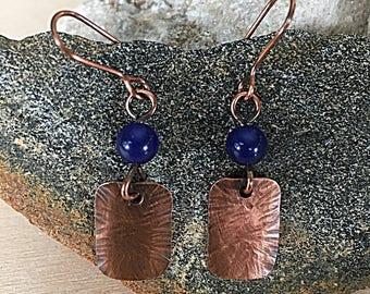 Copper - Blue Jade square - beaded earrings - Handmade - metal - Drop - dangle disc - earrings