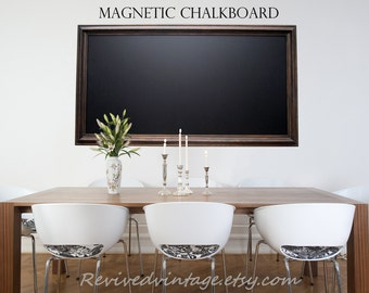"EXTRA LARGE MAGNETIC Chalkboard For Sale Oil Rubbed Bronze Rustic Home Office Decor Magnetic Chalkboard ""53x29"" Wood Framed Old World Style"