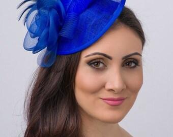"Royal Blue Fascinator - ""Kate"" Mesh Couture English Hat Fascinator Headband"