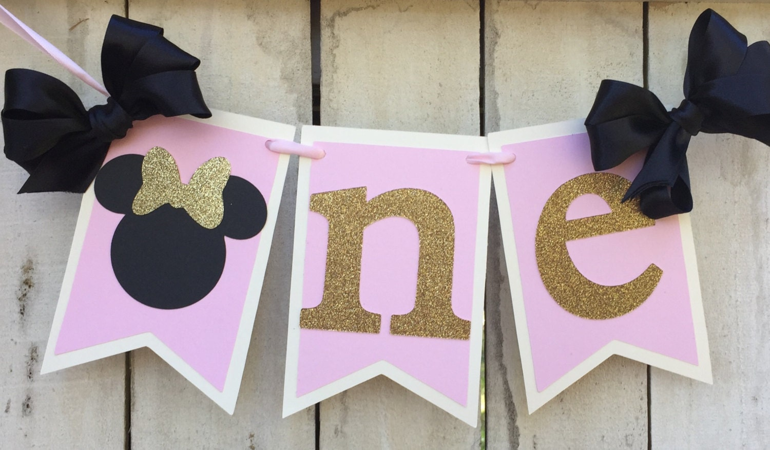 Minnie Mouse Pink And 1st Birthday Banner