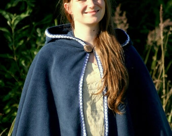 Navy hooded cape - hooded capelet - hooded cloak - medieval cape -  game of thrones cape - elven capelet - game of thrones capelet