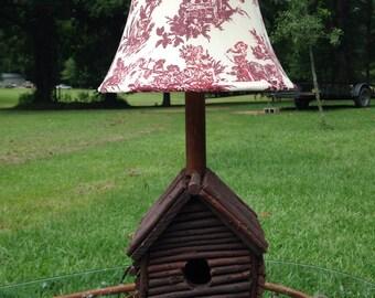 Bird house lamp, log cabin lamp, log cabin, log cabin bird house