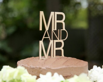 Mr and Mr Wooden Cake Topper | Mr & Mr Timber Topper | Wood Wedding Cake Topper | Gay Engagement Cake | Rusting Topper | Wood Decoration