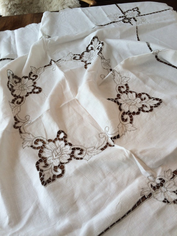 48 ins square cutwork embroidered tablecloth. Strong. Vintage