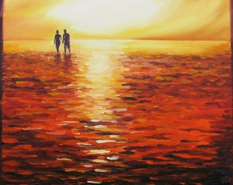 """Giclee reproduction on 8 1/2"""" x 11"""" fine art paper - High Tide (summer love, couple, sunset beach seascape)"""