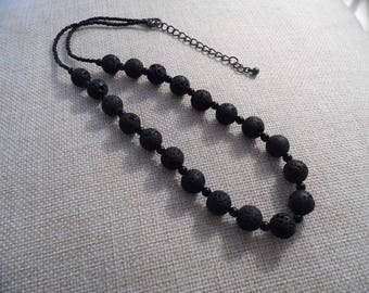 Natural stone necklace, Pearl necklace, lava stone