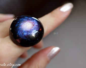 Galaxy ring, Out of this World Zodiac Gift Stardust Jewelry Statement NGC 1309 spiral galaxy, Modern Resin Space Jewelry, Chunky Resin Ring
