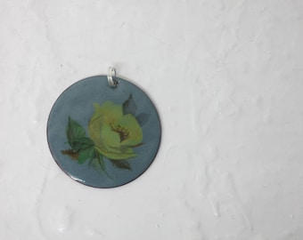 Copper Enamel Necklace or Pendant with Floral Decal 1.5 in Circle