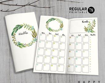 Printable MTN Insert - Regular Undated Monthly Insert - Midori monthly insert, Monthly Traveler's Notebook Insert - Green Leaves
