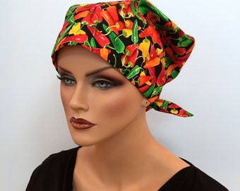 Sandra Scarf, A Women's Surgical Scrub Cap, Cancer Headwear, Chemo Head Scarf, Alopecia Hat, Head Wrap, Head Cover, Hair Loss, Hot Chilli