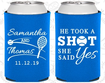 He Took a Shot, She Said Yes, Custom Wedding, Tennis Wedding, Sports Wedding, Wedding Can Coolers (321)