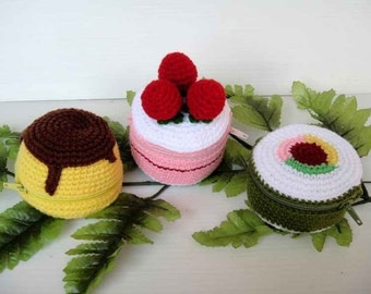 Crochet Pattern - FOOD PURSE 2 - Pudding, Strawberry Cake and Sushi - PDF  (00360)