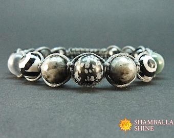 Grey black bracelet Mix gemstone jewelry Men grey bracelet Grey stone beads Healing natural gemstone Men gift idea Yoga beaded bracelet