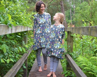 Mom and daughter dresses bunny rabbit matching custom dress cotton jersey smock mummy and me print mama jumper twin stretch knit mothers day