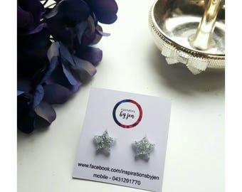 Silver star resin earrings