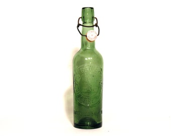 French Glass Bottle of Beer and Lemonade - French Bars Beer 1930 - Retro Tableware - Industrial Interior Design - French Vintage Collectible