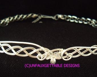 Celtic Elven Leaves Silver metal circlet crown adjustable wedding handfasting larp ren sca