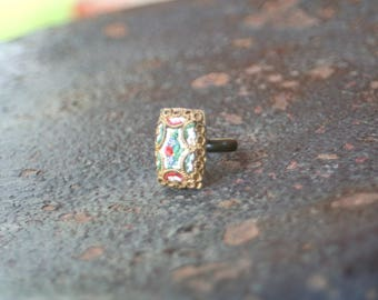 Micro Mosaic Upcycled Adjustable Ring