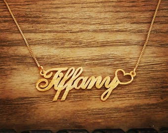 Name Necklace Heart Necklace Heart Pendant Custom Necklace Gold Name Necklace Personalized Necklace Custom Name Necklace Mother's Day Gift