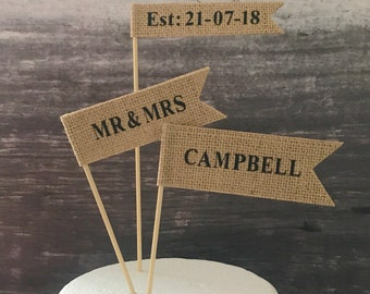 Custom wedding cake topper, contemporary cake flags, cake banner, hessian flags with black letters for rustic wedding or country wedding