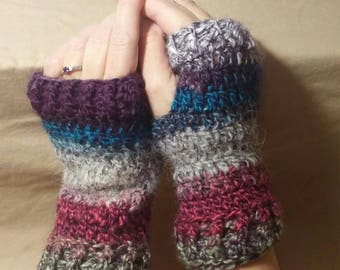 Handwarmers, fingerless gloves, crocheted, multi color