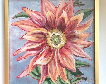 "Dahlia Painting - 8"" x 8"" original painting- acrylic on canvas board- flowers- original art- floral art"