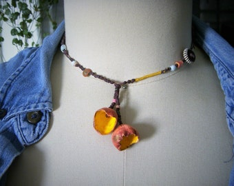 Clay Pod Necklace, Rustic, Primitive, Pink Clay Flower Necklace, Earthy, Sea Shells, Hippie, N644