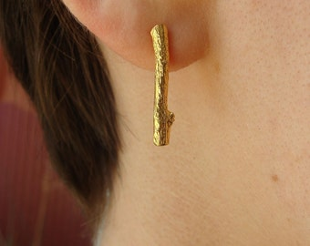 18K Vermeil Little Branch Posts -- On Sale -- Branch Earrings -- Nature Organic Jewelry -- Ready to Ship