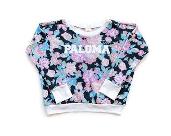 Floral Name Sweatshirt. Customize it! A personalized sweatshirt with your child's name professionally applied to front.