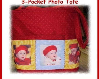 ON SALE!! Handmade Customized 3-Pocket Imprinted Photo Tote Bag