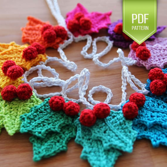PDF crochet pattern Rainbow holly Garland - instant download ...