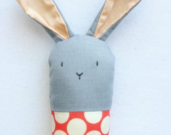 Polka Dot Bunny Rattle - Soft Baby Toy in Red and White