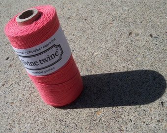 FULL SPOOL - Bakers Twine - Divine Twine - New Solid Coral - Or Your Choice of Color - 100% Cotton - 240 Yards